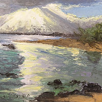 Oil painting Morning Light Baby Beach by Pamela Neswald