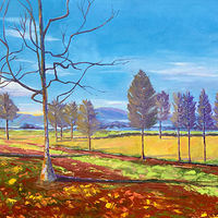 "Oil painting ""Late Fall at the Vineyard"" by Anne French"