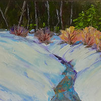 "Oil painting ""Winter Stream"" by Anne French"