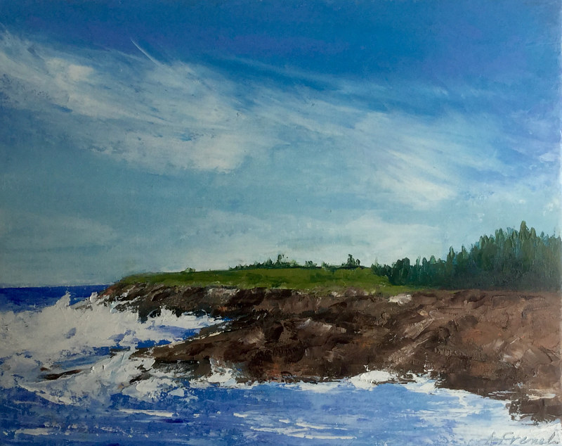 "Oil painting ""Schoodic Peninsula, Acadia Nat'l Pk."" by Anne French"