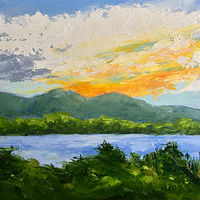 "Oil painting ""Sunset from Lamoine"" by Anne French"