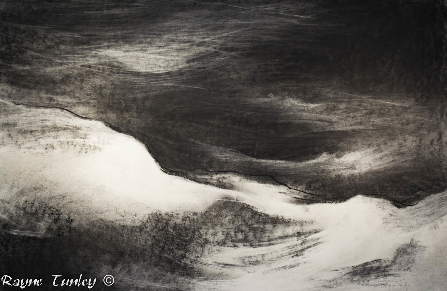 "Rayne Tunley, ""Katabatic winds"", 26in x 40in, Charcoal by Rayne Tunley"