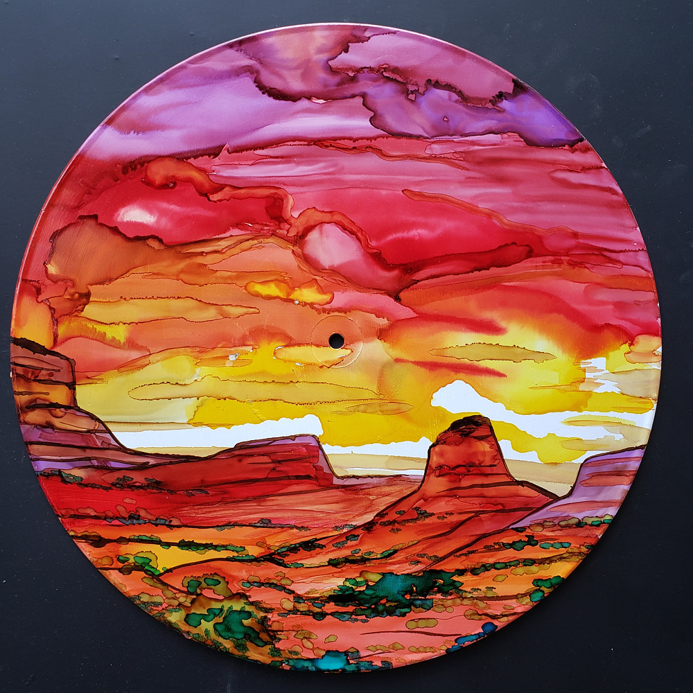 Painting Landscape done with alcohol inks by Isaac Carpenter