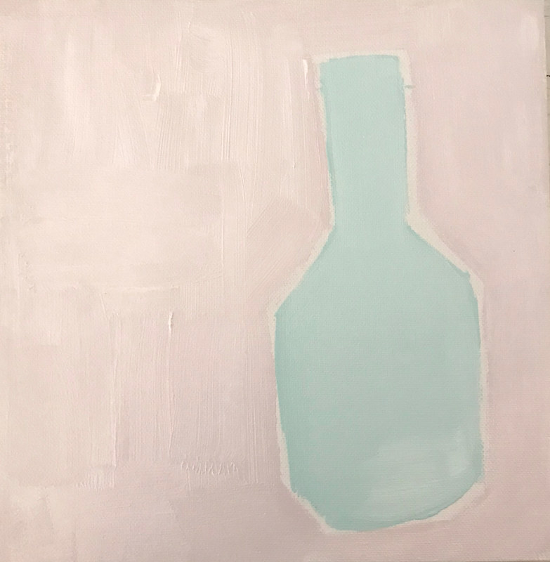 Acrylic painting Vase study in Blush by Sarah Trundle