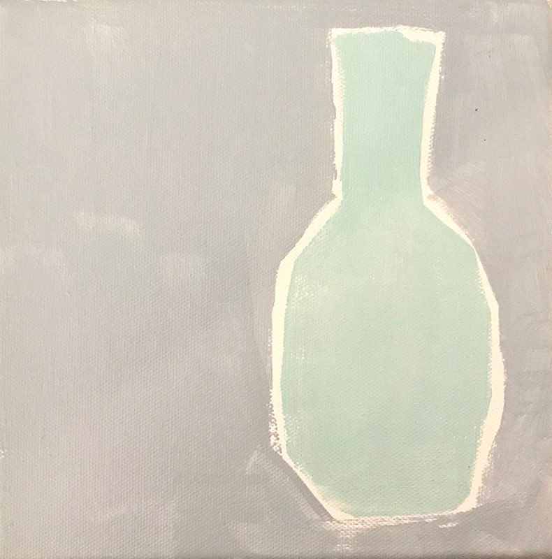 Acrylic painting Vase Study with Pale Blue by Sarah Trundle