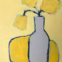 Acrylic painting Grey Vase on Yellow by Sarah Trundle