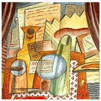Acrylic painting Still Life With Drawn Curtains by Trevor Pye