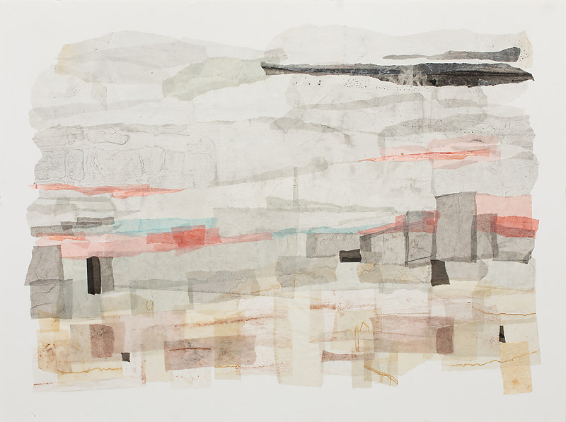 Mixed-media artwork Stretches of land, water and sky by Marilyn Joyce