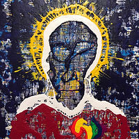 Mixed-media artwork enlightened by Jeffrey Newman