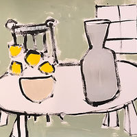 Acrylic painting Tabletop with Lemons by Sarah Trundle