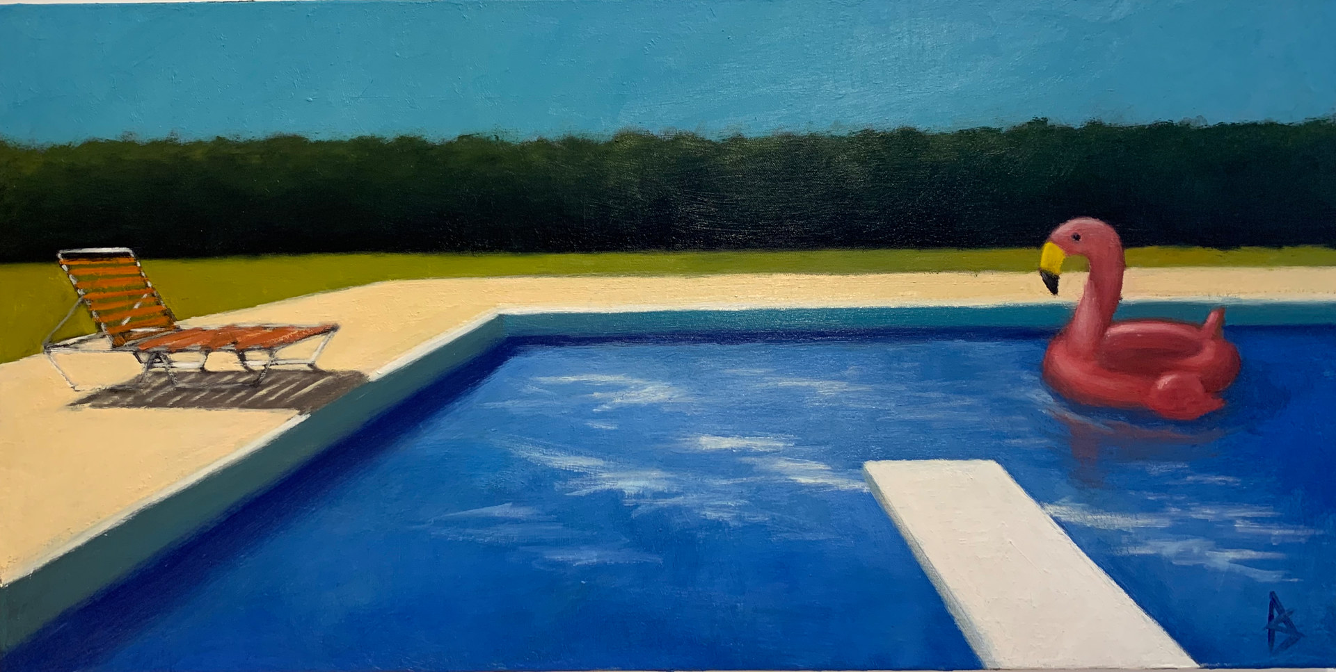 Oil painting Pooltime by Alex Selkowitz