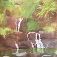 Oil painting Pools of ʻŌheo by Pamela Neswald