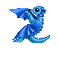 Print 5x7 Dragon Baby z, baby blue by Sue Ellen Brown