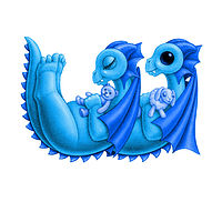 Print 5x7 Dragon Baby w, baby blue by Sue Ellen Brown