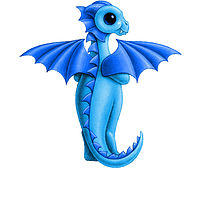 Print 5x7 Dragon Baby t, baby blue by Sue Ellen Brown