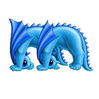 Print 5x7 Dragon Baby m, baby blue by Sue Ellen Brown