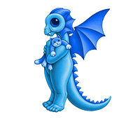 Print 5x7 Dragon Baby k, baby blue by Sue Ellen Brown