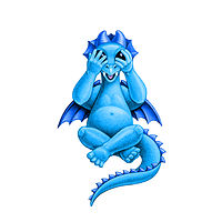 Print 5x7 Dragon Baby i, baby blue by Sue Ellen Brown