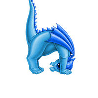Print 5x7 Dragon Baby h, baby blue by Sue Ellen Brown