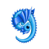 Print 5x7 Dragon Baby g, baby blue by Sue Ellen Brown