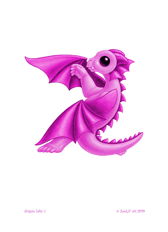 Print 5x7 Dragon Baby z, baby pink by Sue Ellen Brown