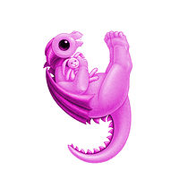 Print 5x7 Dragon Baby y, baby pink by Sue Ellen Brown