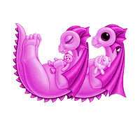 Print 5x7 Dragon Baby w, baby pink by Sue Ellen Brown