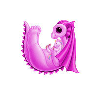 Print 5x7 Dragon Baby u, baby pink by Sue Ellen Brown