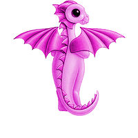 Print 5x7 Dragon Baby t, baby pink by Sue Ellen Brown
