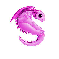 Print 5x7 Dragon Baby s, baby pink by Sue Ellen Brown