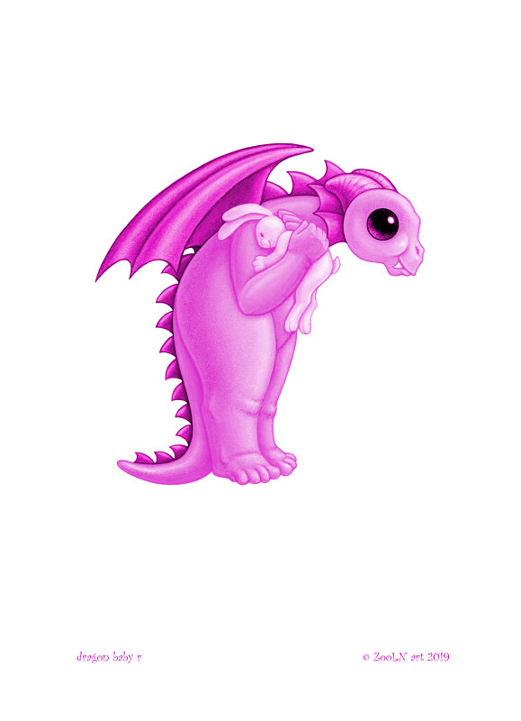 Print 5x7 Dragon Baby r, baby pink by Sue Ellen Brown