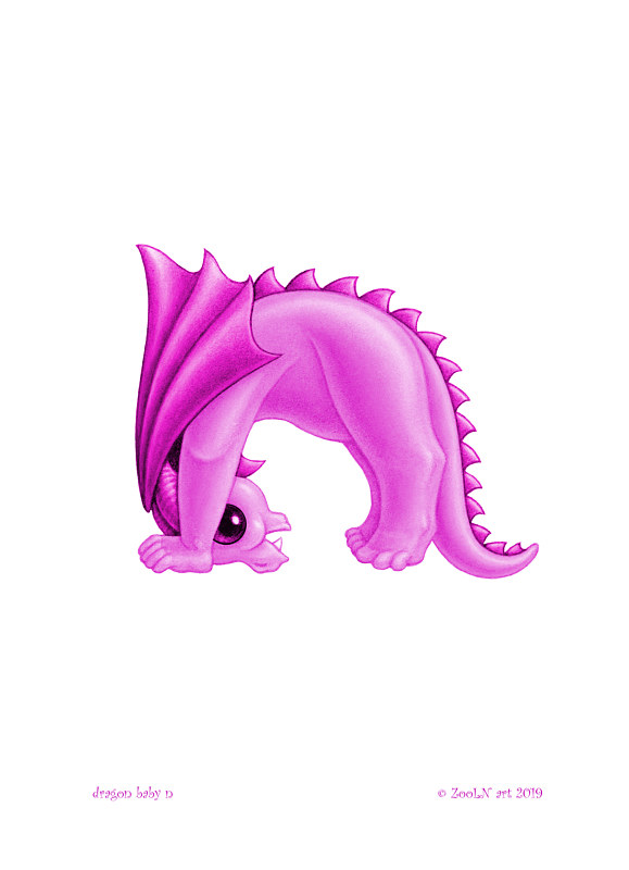 Print 5x7 Dragon Baby n, baby pink by Sue Ellen Brown