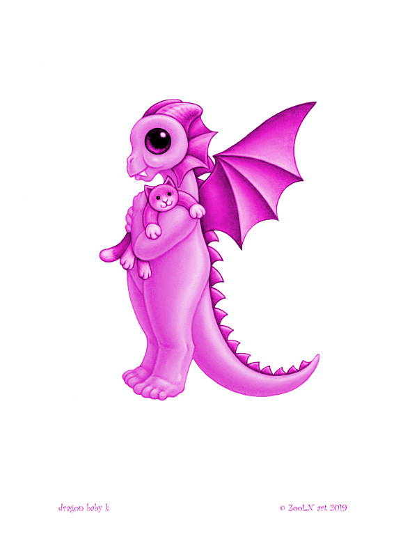 Print 5x7 Dragon Baby k, baby pink by Sue Ellen Brown