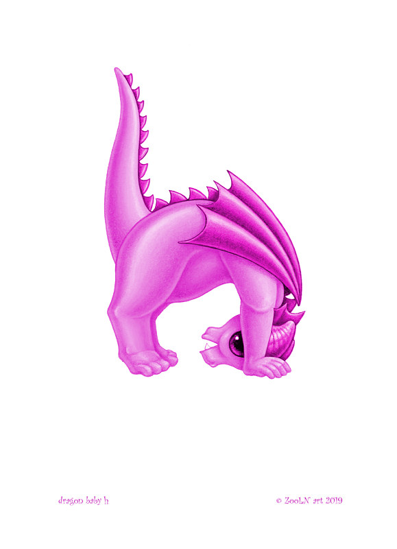 Print 5x7 Dragon Baby h, baby pink by Sue Ellen Brown