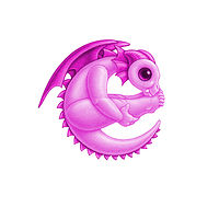 Print 5x7 Dragon Baby e, baby pink by Sue Ellen Brown