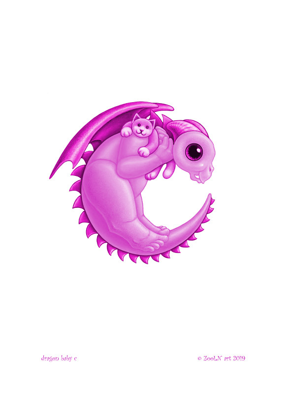 Print 5x7 Dragon Baby c, baby pink by Sue Ellen Brown