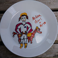 Action Girl and her dog Arvo plate by Michelle Marcotte