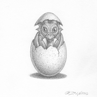 Dragon Baby hatchling by Sue Ellen Brown
