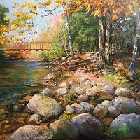 Oil painting The Ten Mile River, Sherman, CT. by Elizabeth4361 Medeiros