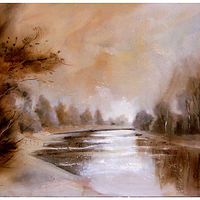 SOFT EVENING ON THE RIVER. oil on canvas, 60x70cm. by Anne Farrall Doyle