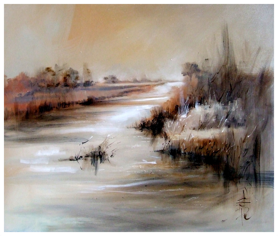 REED BEDS, 50x76cm, oil on canvas by Anne Farrall Doyle