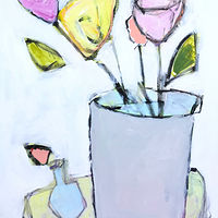 Acrylic painting Scrappy Flowers, No. 3 by Sarah Trundle