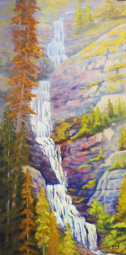 Oil painting Bourgeau Falls by Brent Ciccone