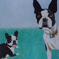 Acrylic painting Beatrices' two dogs, Rexy and Molly by Gwenda Branjerdporn