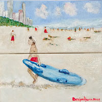 Oil painting A Boy and his surfboard  by Gwenda Branjerdporn