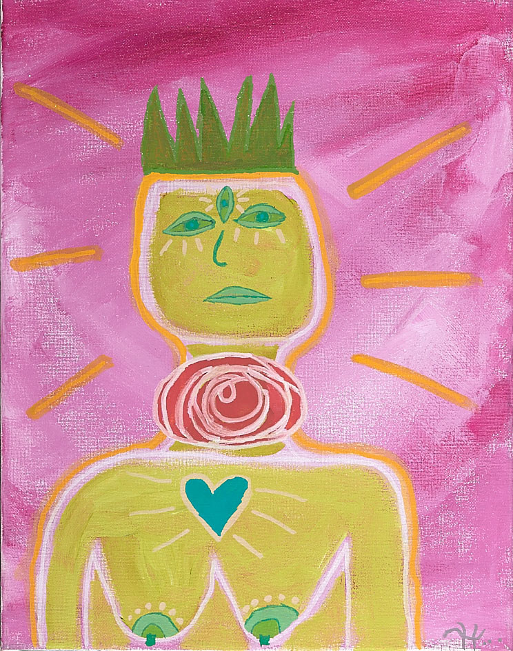 Acrylic painting Sacred Goddess of Self Growth by Kyle Heinly