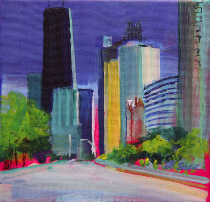 Oil painting chicago skyline downtown by Madeline Shea