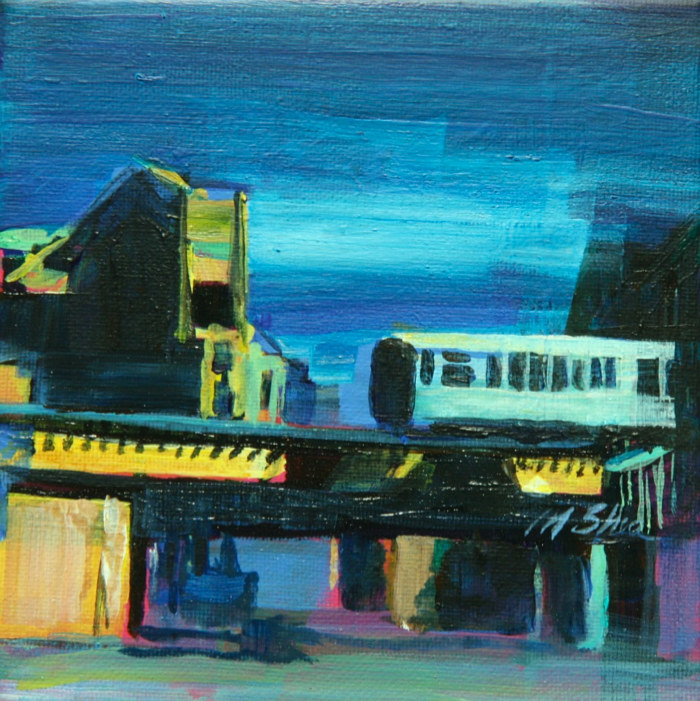 Oil painting l train moving over lincoln by Madeline Shea