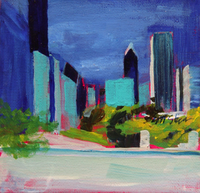 Oil painting downtown skyline by Madeline Shea