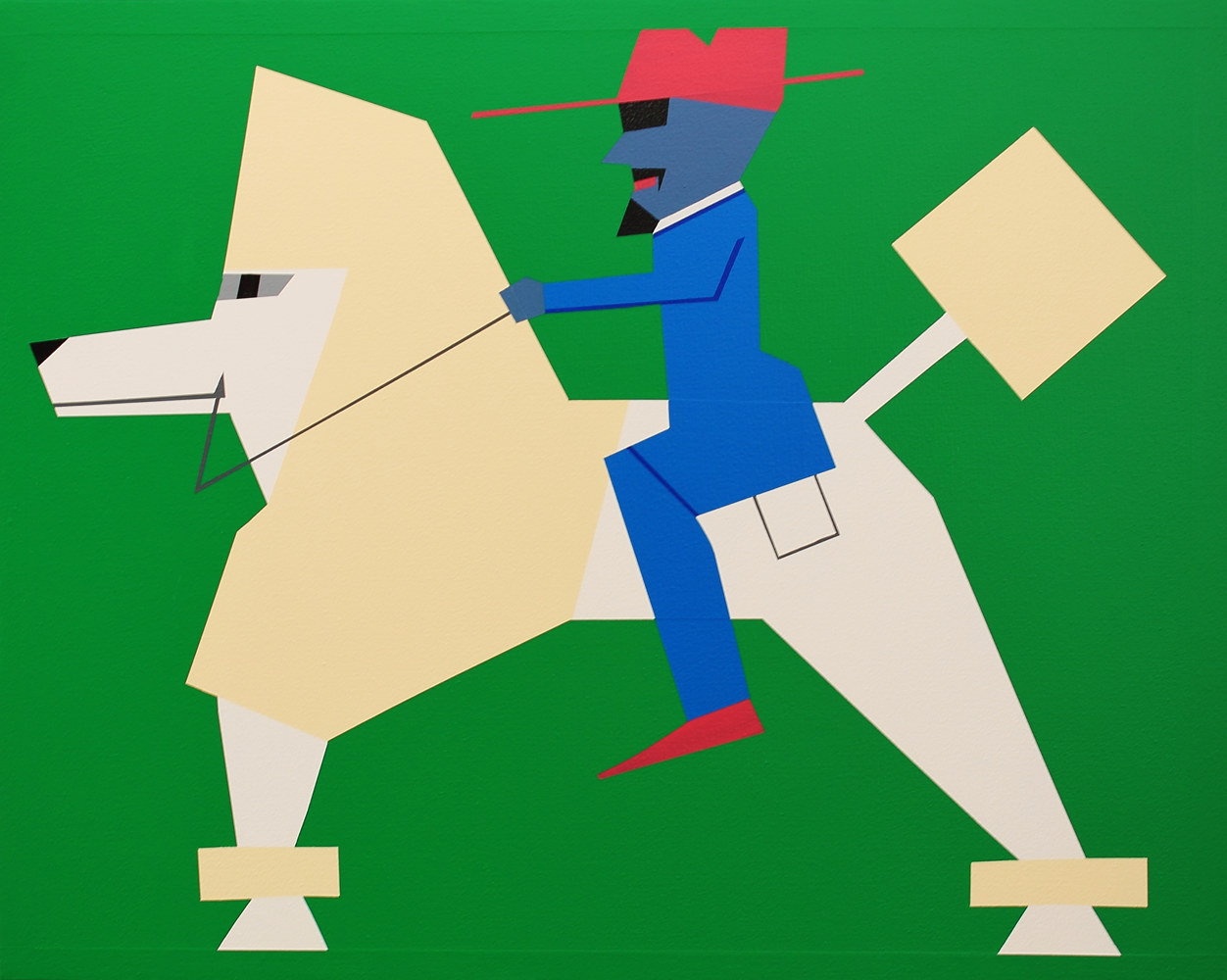 Acrylic painting WestSide Dandy Riding Poodle by Jorge Puron